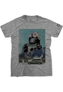Camiseta Stoned Polaroid Cinza