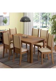 Conjunto Sala De Jantar Madesa Melissa Mesa Tampo De Madeira Com 6 Cadeiras Marrom