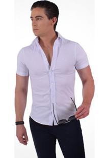 Camisa Horus Social Manga Curta Slim - Masculino-Branco