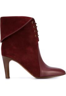 Chloé Ankle Boot De Camurça E Couro Modelo 'Kole' - Vermelho