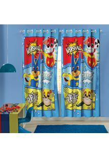 Cortina Com Ilhós Infantil Estampado Patrulha Canina 1,50 M X 1,80 M Com 2 Peças Lepper Azul