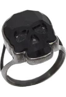 Anel La Madame Co Power Skull Negro Banhado A Ródio Negro