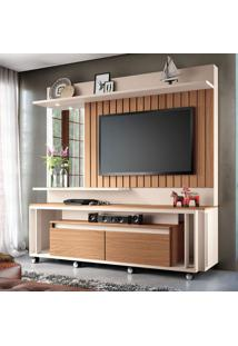 Estante Para Home Theater E Tv Até 60 Polegadas Eclipse Marrom Nature E Off White