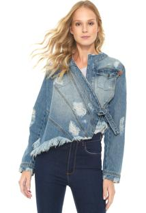Jaqueta Jeans My Favorite Thing(S) Destroyed Cropped Azul