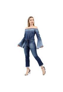 Blusa Jeans Clothify Azul Bordada