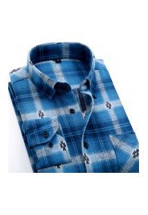 Camisa Xadrez Masculina Slim Fit Alabama - Azul