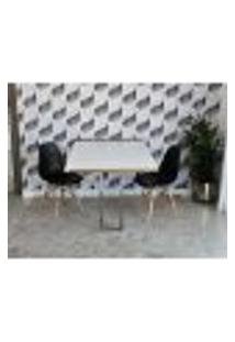 Conjunto De Mesa Dobrável Retrátil 1,40 Branco/Noronha Inox + 2 Cadeiras Eiffel - Preta
