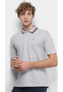Camisa Polo Tommy Jeans Classics Stretch Masculina - Masculino-Cinza