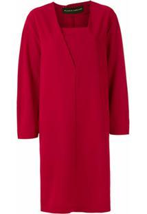 Gloria Coelho Vestido Reto Mangas Longas - Vermelho