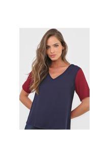 Blusa Calvin Klein Color Block Azul-Marinho/Vinho