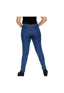 Jeans Feminina Calça Cintura Média Cos Médio Com Elastano Barra Comprida E Justa