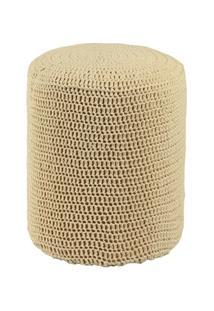 Puff Round Crochê Madeira - Unissex