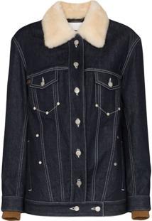 Chloé Jaqueta Jeans Com Pele Na Gola - Azul