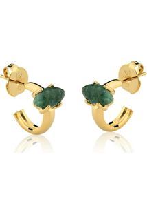 Brinco Toque De Joia Mini Argola Navete Pedra Pequena Quartzo Verde - Feminino-Dourado