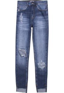 Calça Feminina High Skinny Menifee Jeans (Jeans Medio, 40)