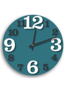 Relógio De Parede Premium Ágata Com Números Em Relevo Branco E Preto Ônix 50Cm Grande