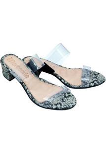 Tamanco Mercedita Shoes Cristal Salto Baixo Grosso Dia A Dia Festa - Feminino-Chumbo