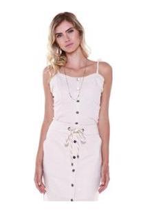 Cropped Studio 21 Fashion Linho Cordão - Feminino-Off White