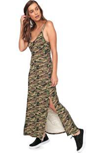 Vestido Fiveblu Longo Camuflado Verde/Marrom