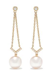 Yoko London Par De Brincos Trend De Ouro 18K Com Diamante E Pérola - 6