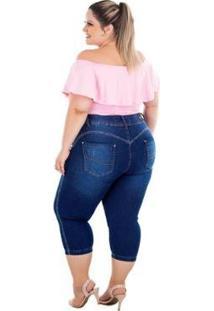 Calça Jeans Latitude Plus Size Cropped Joanine Feminina - Feminino-Azul