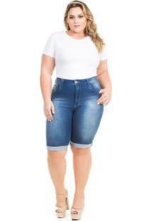 Bermuda Confidencial Extra Plus Size Jeans Summer Feminina - Feminino-Azul