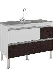 Gabinete Para Cozinha Prisma 86X114Cm Branco E Café