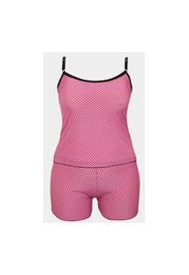 Baby Doll Plus Size Em Liganete Estampado O43 Rosa Claro Variado 50