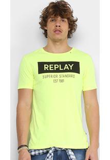 Camiseta Replay Estampada Superior Standard Masculina - Masculino-Amarelo Claro