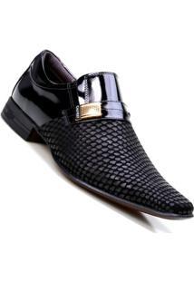 Sapato Social Calvest Em Couro Snake - Masculino-Preto