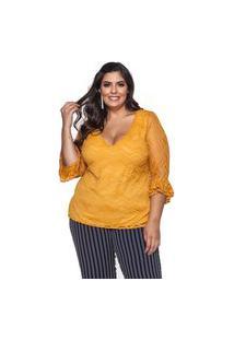 Blusa Almaria Plus Size Pianeta Renda Amarelo