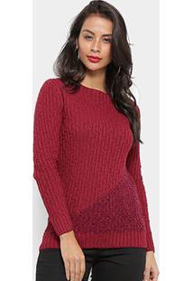 Tricot Fast Glam Suéter Tricot Desenhado Feminino - Feminino-Bordô