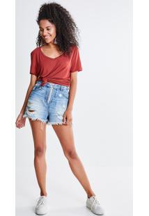 Short Jeans Com Zíper Argola