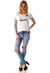 Calça Jeans Opera Rock Faux Leg Max Feminina - Feminino-Azul