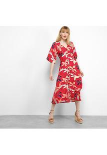 Vestido Mercatto Midi Floral Botões - Feminino-Vermelho