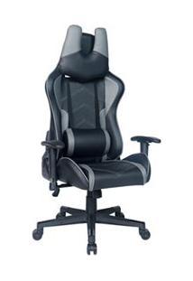 Cadeira Gamer A Giratória Com Travamento De Inclinação Preta E Cinza - Mw