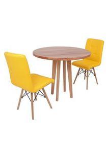 Conjunto Mesa De Jantar Em Madeira 90Cm Com Base Vértice + 2 Cadeiras Gomos - Amarelo
