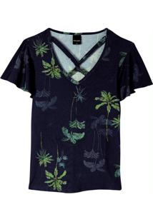 Blusa Azul Tropical Tiras Cruzadas