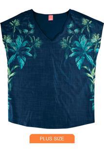 Blusa Azul Marinho Tropical Em Malha Liganete