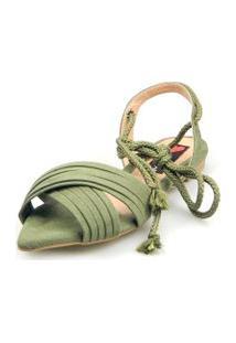 Sandalia Rasteira Love Shoes Bico Folha Amarraçáo Cruzada Verde Militar