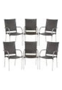 Cadeiras 6Un Para Area Varanda Fibra Sintetica Sala Cozinha Jardim Sacada Polonia - Tabaco
