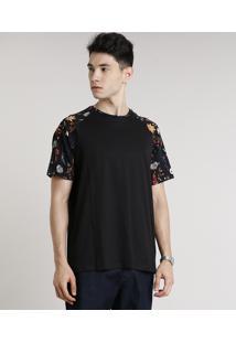 Camiseta Masculina Raglan Com Estampa Floral Manga Curta Gola Careca Preta
