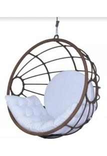 Poltrona De Balanço Santoro Em Corda Marrom Tecido Branco - 61682 - Sun House