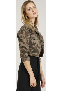 fb82506057 ... Jaqueta De Sarja Feminina Cropped Estampada Camuflada Verde Militar