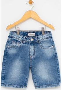 Bermuda Infantil Jeans Com Bolsos - Tam 5 A 14