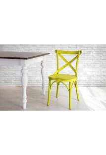 Cadeira De Madeira X Country Amarela Torneada Com Encosto E Assento Anatômico Madeleine - 50X54,5X86 Cm