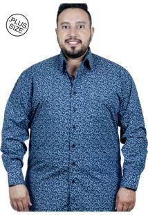 Camisa Plus Size Bigshirts Manga Longa Flor Xadrez Azul