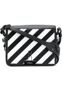 Off-White Diagonal-Stripe Binder-Clip Shoulder Bag - Preto