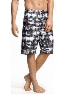 Shorts Praia Masculino Em Poliéster Estampado