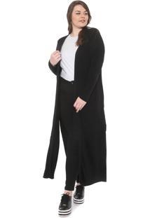 Maxi Cardigan Secret Glam Plus Size Liso Preta